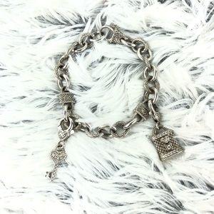Judith Ripka Silver Lock & Key Bracelet